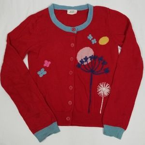 Mini Boden Red Floral Cashmere Cardigan 9-10yo